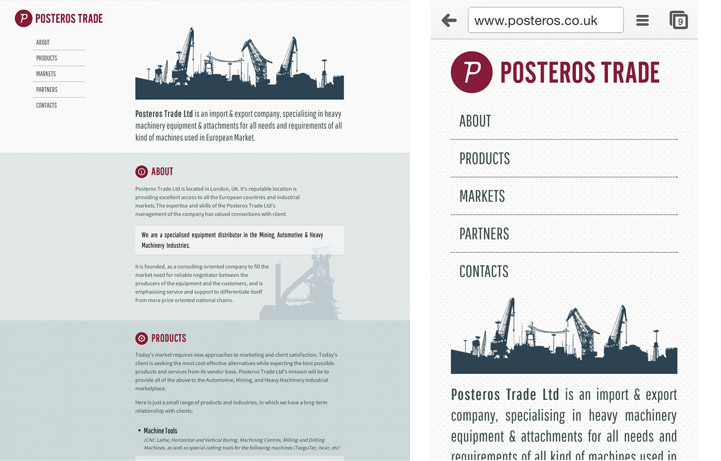 a website for Posteros Trade Ltd